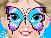 Jouer à Bu00e9bu00e9 Elsa - Maquillage papillon