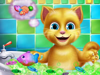 Jeu Le bain de Ginger le chat
