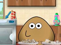 Jeu Pou fait la vaisselle