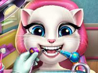 Jouer à Talking Angela chez le dentiste