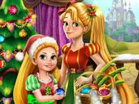 Jeu Raiponce et sa fille décorent le sapin