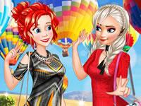 Jeu Elsa et Ariel en montgolfière