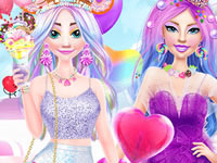 Jeu Barbie et Elsa à Candyland