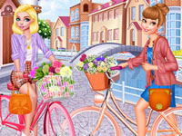 Jeu Cendrillon et Belle font du vélo